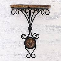 Wrought iron and wood wall shelf, 'Old World Beauty' - Artisan Crafted Mango Wood Wrought Iron Wall Shelf