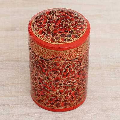 Papier mache toothpick holder, 'Red Floral Beauty' - Hand-Painted Red and Gold Floral Wood Toothpick Holder
