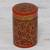 Papier mache toothpick holder, 'Red Floral Beauty' - Hand-Painted Red and Gold Floral Wood Toothpick Holder (image 2b) thumbail