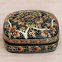 Papier mache decorative box, 'Floral Gathering' - Petite Hand-Painted Black Paper Mache on Wood Box