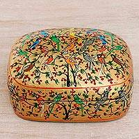 Papier mache decorative box, 'Birds in Harmony' - Hand-Painted Colorful Singing Birds Wood Decorative Box