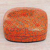 Papier mache decorative box, 'Warm Kashmir' - Hand-Painted Red and Metallic Gold Floral Decorative Box