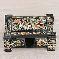 Wood card holder, 'Chinar Bliss' - Hand-Painted Black and Floral Wood Desktop Card Holder