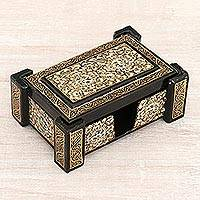 Wood card holder, 'Cheerful Kashmir' - Hand-Painted Gold and Black Floral Bloom Wooden Card Holder