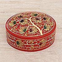 Papier mache decorative box, 'Dancing Chinar' - Hand-Painted Red and Gold Willow Wood Chinar Decorative Box