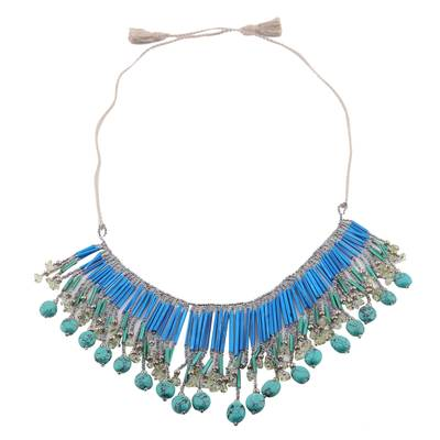 Blue Glass Bead and Recycled Paper Waterfall Necklace