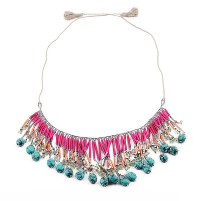 Pink Glass Bead and Recycled Paper Waterfall Necklace
