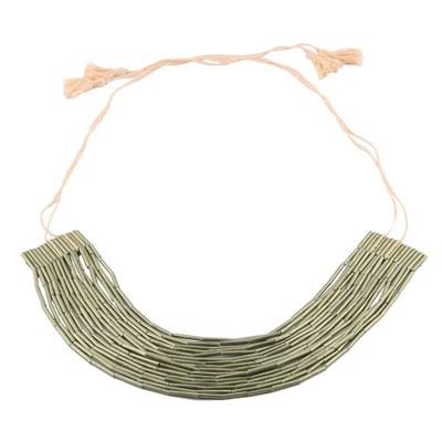India Green Multi-Strand Recycled Paper Beaded Necklace