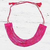 Recycled paper beaded necklace, 'Gorgeous in Pink' - Pink Multi-Strand Recycled Paper Beaded Statement Necklace