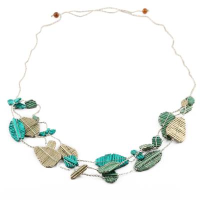 Handmade Green and Gold Recycled Paper Station Necklace