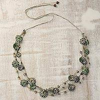 Recycled paper station necklace, 'Petal Symphony' - Metallic Recycled Paper Floral Beaded Station Necklace