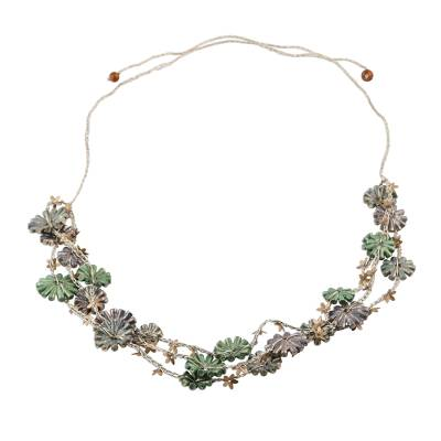 Metallic Recycled Paper Floral Beaded Station Necklace
