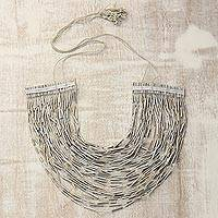 Recycled paper and glass beaded necklace 'Metallic Beauty' - Handcrafted Golden Recycled Paper and Glass Beaded Necklace