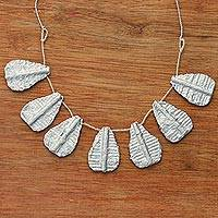 Recycled paper pendant necklace, 'Lustrous Leaves' - Handcrafted Recycled Paper and Glass Bead Pendant Necklace