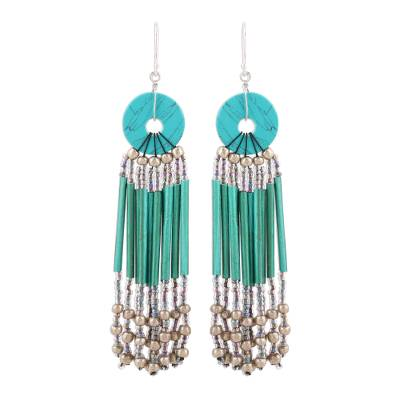 Green Disc and Recycled Paper Beaded Chandelier Earrings