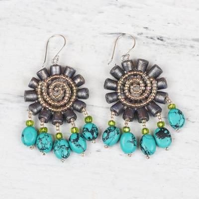 Recycled paper and glass beaded dangle earrings, 'Floral Twirl' - Handmade Recycled Paper and Glass Bead Chandelier Earrings