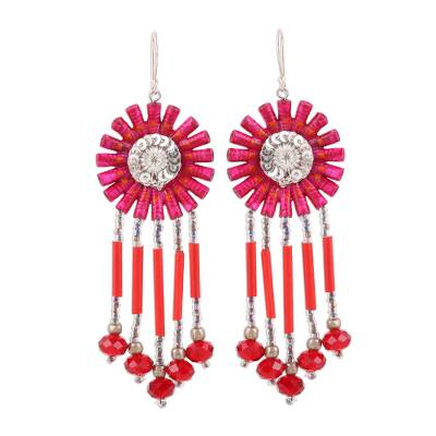 Handcrafted Hot Pink Recycled Paper Glass Beaded Earrings