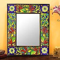 Ceramic tile wall mirror, 'Inlaid Foliage' - Multi-Colored Leaves Inlaid Ceramic Tile Wall Mirror
