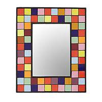 Ceramic tile wall mirror, 'Vibrant Quadrangles' - Multi-Colored Square Tiles Ceramic Mango Wood Wall Mirror