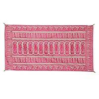 Silk tapestry, 'Royal Recollections' - Magenta on Light Grey Silk Brocade Royal Scenes Tapestry