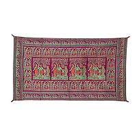 Silk tapestry, 'Royal Scene' - Green and Orange on Magenta Brocade Royal Scene Tapestry