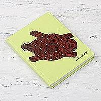 Handmade paper journal, 'Happy Turtle' - Hand-Painted Folk Art Turtle Handmade Cotton Paper Journal