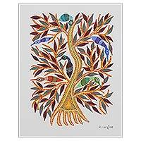 Gond painting, 'Cheerful Birds' - Signed Tree and Bird-Themed Gond Painting from India