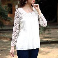 Lace-trimmed blouse, 'Daisy Snow' - Crocheted Daisy Shoulder and Sleeve Snow White Blouse