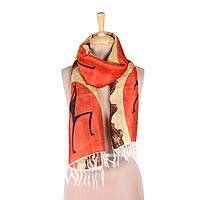 Silk scarf, 'Tribal Spearman' - Hand-Painted Cultural Silk Wrap Scarf from India