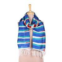 Silk scarf, 'Harmonious Stripes' - Hand-Painted Striped Silk Wrap Scarf from India