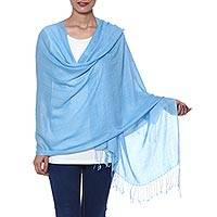 Wool and silk blend shawl, 'Still Waters' - Sky Blue Wool and Silk Blend Fringed Shawl from India