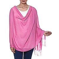 Wool and silk blend shawl, 'Orchid Allure' - Orchid Color Wool and Silk Blend Fringed Shawl from India