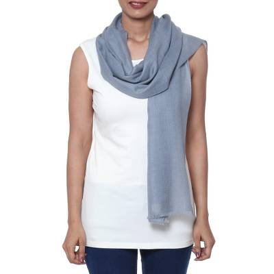 Wool and silk blend scarf, 'Luminous Cloud' - Smoke Grey Wool and Silk Blend Scarf from India