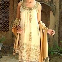 Silk shawl, 'Golden Nights' - Pure Silk Shawl in Warm Golden Color from India