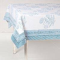 Cotton tablecloth, 'Dahlia Elegance in Blue' - White and Blue Dahlia Hand Block Print Cotton Tablecloth