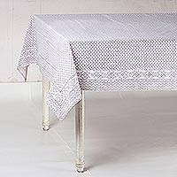Cotton tablecloth, 'Grey Waves' - Block-Printed Cotton Tablecloth in Grey from India