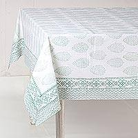 Cotton tablecloth, 'Flower Clusters in Green' - White and Green Floral Hand Block Print Cotton Tablecloth