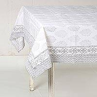 Cotton tablecloth, 'Flower Clusters in Grey' - White and Grey Floral Hand Block Print Cotton Tablecloth