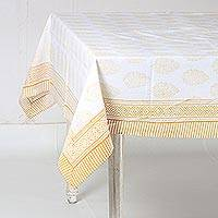 Cotton tablecloth, 'Flower Clusters in Yellow' - White and Yellow Floral Hand Block Print Cotton Tablecloth