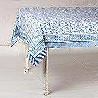Cotton tablecloth, 'Blue Wood' - Block-Printed Cotton Tablecloth in Blue from India