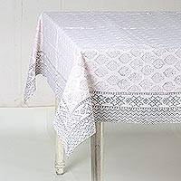 Cotton tablecloth, 'Lovely Leaves' - White and Grey Leaf Hand Block Print Cotton Tablecloth