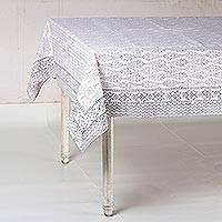 Cotton tablecloth, 'Grey Wood' - Grey Screen-Printed Cotton Tablecloth from India