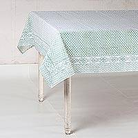 Cotton tablecloth, 'Jade Waves' - Zigzag Motif Cotton Tablecloth in Jade from India