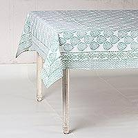 Cotton tablecloth, 'Garden Bliss in Jade' - Printed Cotton Tablecloth in Jade from India