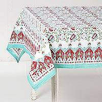 Cotton tablecloth, 'Vivacious Blooms' - Red and Green on White Floral Block Print Cotton Tablecloth