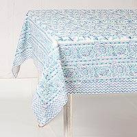 Cotton tablecloth, 'Lush Garden' - Purple Blue on White Floral Block Print Cotton Tablecloth