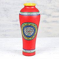 Ceramic vase, 'Festive Warli in Red' - Red Ceramic Vase with Warli Motifs from India