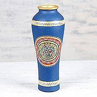 Ceramic vase, 'Festive Warli in Blue' - Blue Ceramic Vase with Warli Motifs from India