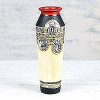 Ceramic vase, 'Elegant Warli' - Hand-Painted Ceramic Warli Vase from India
