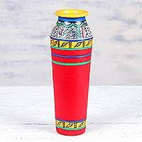 Ceramic vase, 'Warli Joy' - Colorful Ceramic Vase with Warli Motifs from India